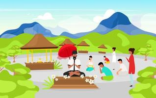 Meditating people flat vector illustration. Place of worship in mountains. Meditating pose. Indonesian religion. Buddhism. Men and women cartoon characters