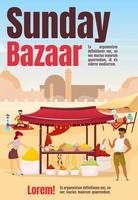 Sunday bazaar poster flat vector template. Egypt marketplace. Istanbul street market. Brochure, cover, booklet one page concept design with cartoon characters. Advertising flyer, leaflet, newsletter