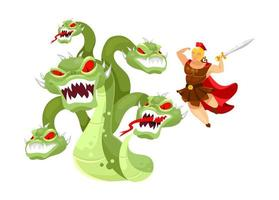 Hydra and Hercules flat vector illustration. Hero attacking mythological monster. Greek mythology. Twelve labors of Herakles. Fight with beast isolated cartoon character on white background