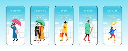 Plantilla de vector plano de pantalla de aplicación móvil de incorporación de ropa impermeable. paraguas y botas. impermeables para niños. paso a paso del sitio web con personajes. ux, ui, interfaz gráfica de usuario de dibujos animados para teléfonos inteligentes, conjunto de impresiones de casos