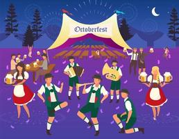 Oktoberfest flat vector illustration. Beer tent. Folk music and dances. Traditional Beer Festival. Waiters in national costumes. Visitors with cups of alcohol. Volksfest waitress cartoon characters