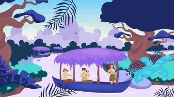 Tourist in boat flat vector illustration. Group on journey in ship. Sailing on river stream. Rainforest landscape. Amazonian forest with watercourse. Female and male cartoon characters