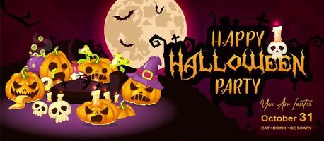 Happy halloween event flat banner template. Autumn holiday night party invitation card design layout. Spooky cartoon background with scary pumpkins, moon and lettering. Helloween horizontal poster vector