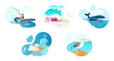 Plastic pollution in ocean flat concept icons set. Sea water contamination problem stickers, cliparts pack. Ecological catastrophe, nature damage. Isolated cartoon illustrations on white background vector