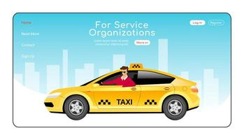 For service organizations landing page flat color vector template. Express taxi delivery homepage layout. Cab order one page website interface with cartoon character. City travel web banner, webpage