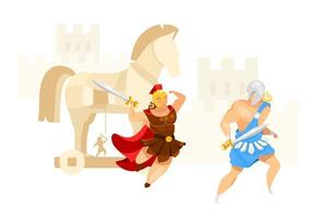 Trojan war flat vector illustration. Troy and Achilles. Warriors fight. City assault in horse construction. Greek mythology. Homer iliad. Battle scene isolated cartoon character on white background
