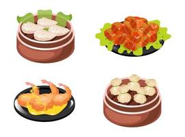 Chinese dishes color icons set. Dumplings types with meat and vegetables filling. Seafood, prawns and schrimps. Eastern traditional cuisine. Meat chops with sauce. Isolated vector illustrations