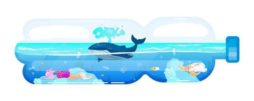 Whale and waste in plastic bottle flat concept icon. Environment pollution problem. Marine animal and garbage in sea water sticker, clipart. Isolated cartoon illustration on white background vector