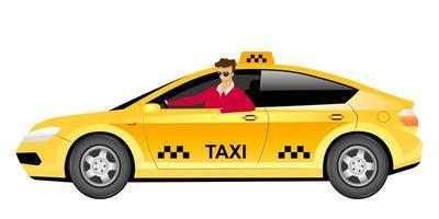 conductor de taxi en carácter sin rostro del vector del color plano del coche. Hombre sonriente sentado en sedán amarillo aislado ilustración de dibujos animados para diseño gráfico web y animación. servicio de entrega de taxi