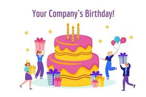 Company birthday celebration flat vector illustration. Corporate anniversary celebration concept. Cake with candles, gifts and workers cartoon characters. Greeting card design element