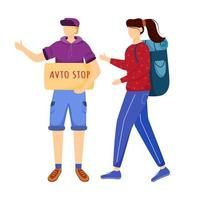 Hitchhiking experience flat vector illustration. Trip ideas for youth. Budget tourism. Boy and girl wait for car. Cheap travelling ideas for students isolated cartoon character on white background
