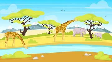 Ilustración de vector plano de conservación africana. jirafas y elefantes cerca del abrevadero. río que fluye a través de la sabana. paisaje verde. paisaje panorámico. personajes de dibujos animados de animales del sur