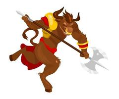 Minotaur flat vector illustration. Mythological creature with battleaxe. Fantastical bull beast with axe. Greek mythology. Monster in fight pose isolated cartoon character on white background