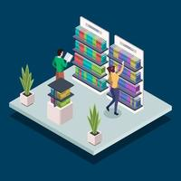 People at modern book library isometric color vector illustration. Bookstore shelves. University students reading, searching textbooks. Public library 3d concept isolated on blue background