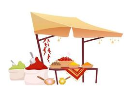 Indian bazaar tent with spices cartoon vector illustration. Eastern market awning with exotic seasoning, traditional herbs flat color object. Oriental canopy isolated on white background
