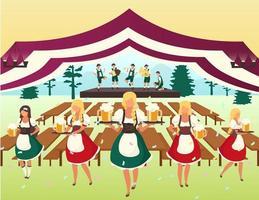 Oktoberfest flat vector illustration. Beer tent. Folk musical performance, october fest show. Waiters in national costumes serving drinks. Beer Festival. Volksfest cartoon characters