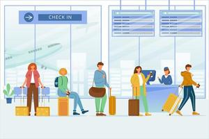Check in airport zone flat vector illustration. Travelers with luggage at boarding registration, departure board. Aircraft passengers. Travel by plane. Queue tourists to check desk cartoon characters