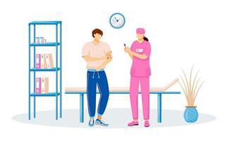 Paciente y médico personaje de vector de color plano sin rostro. hombre con erupción cutánea. mujer haciendo inyección. vacunación para paciente masculino. tratamiento de enfermedades medicinales aislado ilustración de dibujos animados