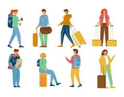 Travellers flat vector illustrations set. Vacation trip. Holiday journey. Standing, sitting full body caucasian people with backpacks and suitcases. Tourists with luggage isolated cartoon characters