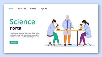 plantilla de vector de página de destino del portal de ciencia. idea práctica de la interfaz del sitio web de información química con ilustraciones planas. Diseño de página de inicio de tecnología de aprendizaje moderno, banner web, concepto de dibujos animados de página web