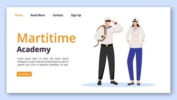 Maritime academy landing page vector template. Nautical school website interface idea with flat illustrations. Students homepage layout. Sailors web banner, webpage cartoon concept