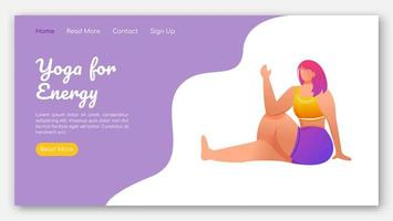 Yoga for energy landing page vector template. Active and healthy lifestyle. Bodypositive website interface idea with flat illustrations. Homepage layout, web banner, webpage cartoon concept