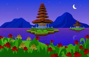 Pura Ulun Danu Bratan flat vector illustration. Hindu Shaivite water temple on Bali. Night. Temple complex in Indonesia. Religious building on lake by night