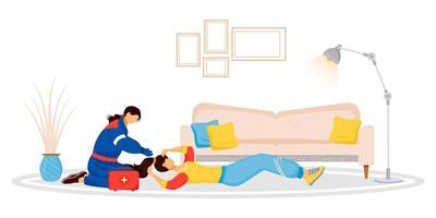 Emergency aid flat color vector faceless characters. Unconscious woman lying on floor. Female doctor. Lady fainting from dizziness. Professional treatment. First help isolated cartoon illustration