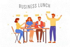 Business lunch flat vector illustration. Office workers in cafe drinking coffee and chatting. Partners discussing project cartoon characters. Business people conference, coworkers teamwork concept