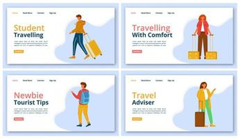Travel company landing page vector template set. Tourist agency website interface idea with flat illustrations. Tour operator homepage layout. Voyager help web banner, webpage cartoon concept
