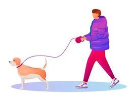 Hombre con capa degradada color plano vector personaje sin rostro. chico caucásico paseando a un perro. día lluvioso. clima húmedo. Hombre elegante en zapatillas de deporte aislados ilustración de dibujos animados sobre fondo blanco.