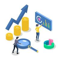 Accounting and audit isometric color vector illustration. Revenue increase. Economic growth. Workers developing business plan. Data analysis and statistics. 3d concept isolated on white background