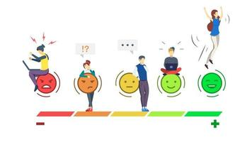 Mood rating scale semi flat RGB color vector illustration. Emotions. User experience. Customer satisfaction. Consumer feedback. Client review. Quality evaluation. Isolated cartoon character on white
