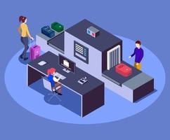 Airport baggage scanner isometric color vector illustration. Modern airline company safety measure 3d concept isolated on blue background. Security worker checking passengers luggage