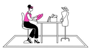 Fashion designer in atelier flat contour vector illustration. Sewing, reparing hat in studio isolated cartoon outline character on white background. Creating accessories at workshop simple drawing