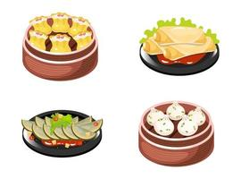 Chinese dishes color icons set. Dumplings types with meat and vegetables filling. Spring rolls and vegetable salad. Eastern traditional cuisine. Squash with sauce. Isolated vector illustrations