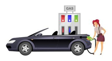 Woman refueling car flat color vector faceless character. Smiling lady at self service gas station isolated cartoon illustration for web graphic design and animation. Female driver at petrol station