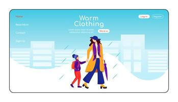 Warm clothing landing page flat color vector template. Mother with son go to school homepage layout. Rainy day one page website interface with cartoon character. Wet weather web banner, webpage