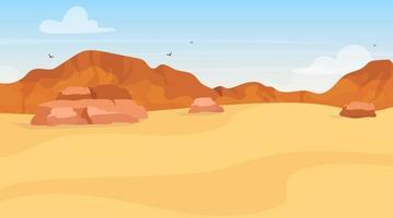 Ilustración de vector plano de dunas. exploración del desierto de arena. paisaje egipcio panorámico. desierto árabe. tierra africana. proyecto de entorno. vista de plato. colinas de montaña. fondo de dibujos animados de páramo