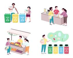 People sorting trash flat color vector faceless characters set. Customers using reusable bags for grocery, making purchases. Zero waste lifestyle isolated cartoon illustrations on white background