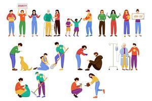obras de caridad conjunto de ilustraciones vectoriales planas. voluntarios desinteresados, jóvenes activistas aislados personajes de dibujos animados. cuidado del medio ambiente y animales sin hogar. personas mayores y pobres apoyan elementos de diseño vector