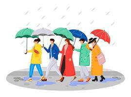 Personas en impermeables personajes sin rostro vectoriales de color plano. caminando humanos caucásicos con paraguas. día lluvioso. Hombres y mujeres en la carretera ilustración de dibujos animados aislados sobre fondo blanco vector