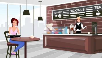 Coffee shop visitor sitting at table flat vector illustration. Cartoon barista at counter waiting for client order. Trendy urban restaurant interior. Stylish chalkboard with cocktails, tea menu