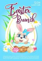 Easter brunch poster flat vector template. Pascha celebration. Brochure, booklet one page concept design with rabbit in basket kawaii cartoon characters. Spring holiday festive flyer, leaflet