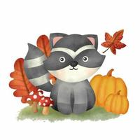 Watercolor Autumn woodland animals with cute raccoon card vector
