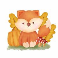 Watercolor Autumn fox card vector