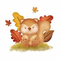 Watercolor Autumn woodland animals with cute squirrel vector