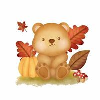 Watercolor Autumn woodland animals with cute bear vector
