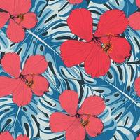 Seamless pattern Hibiscus flowers and monstera leaf abstract background.Vector illustration line art drawing fabric design. vector