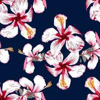 Seamless pattern tropical summer with Hibiscus flowers on isolated dark blue background.Vector illustration hand drawing dry watercolor style.For fabric design. vector